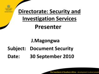 Directorate: Security and Investigation Services
