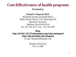 Cost-Effectiveness of health programs
