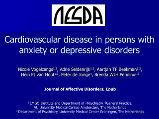 Cardiovascular disease in persons with anxiety or depressive disorders