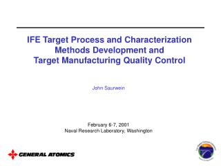 John Saurwein February 6-7, 2001 Naval Research Laboratory, Washington