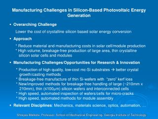 Manufacturing Challenges in Silicon-Based Photovoltaic Energy Generation