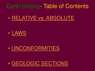 Earth History - Table of Contents