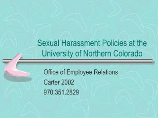 Sexual Harassment Policies at the University of Northern Colorado