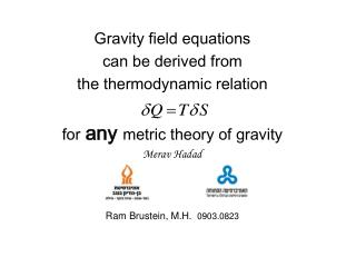 Gravity field equations can be derived from the thermodynamic relation for any metric theory of gravity Merav Hadad Ram