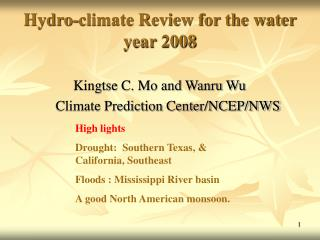Hydro-climate Review for the water year 2008