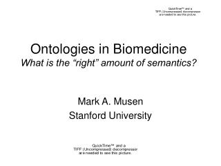 "Ontologies in Biomedicine What is the ""right"" amount of semantics?"