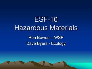 ESF-10 Hazardous Materials