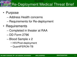 Re-Deployment Medical Threat Brief