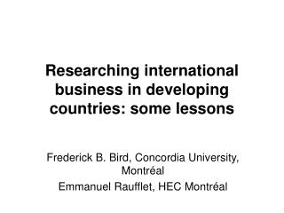 Researching international business in developing countries: some lessons