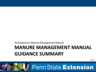 manure management manual guidance summary