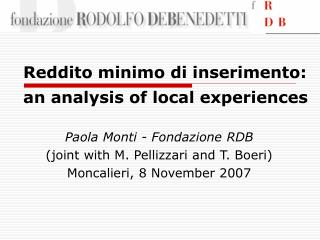 Reddito minimo di inserimento: an analysis of local experiences