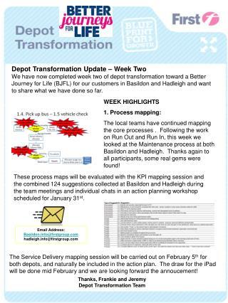 Depot Transformation Update – Week Two