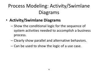 Process Modeling:  Activity/ Swimlane  Diagrams