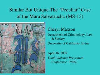 """Similar But Unique:The """"Peculiar"""" Case of the Mara Salvatrucha (MS-13)"""