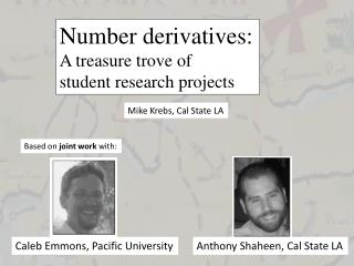 Number derivatives: A treasure trove of student research projects