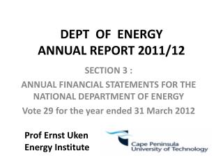 DEPT  OF  ENERGY ANNUAL REPORT 2011/12