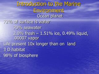 Introduction to the Marine Environment