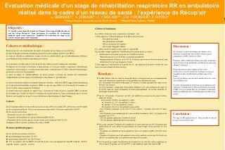 Évaluation médicale d'un stage de réhabilitation respiratoire RR en ambulatoire réalisé dans le cadre d'un réseau de sa