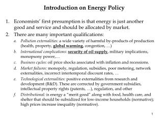 Introduction on Energy Policy
