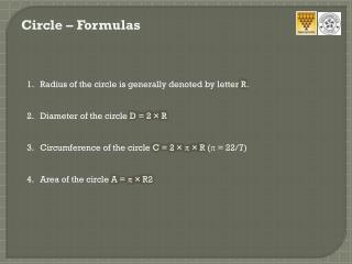 Circle – Formulas