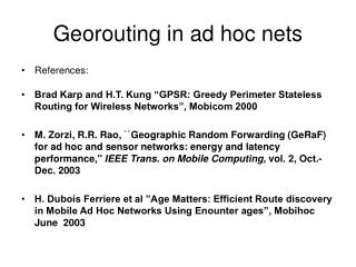 Georouting in ad hoc nets