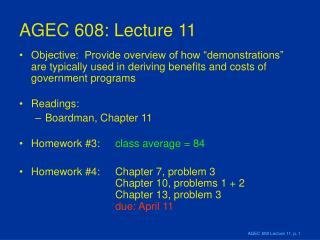 AGEC 608: Lecture 11