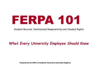 FERPA 101