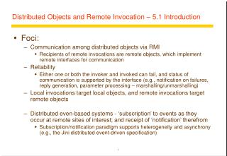 Distributed Objects and Remote Invocation � 5.1 Introduction