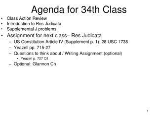 Agenda for 34th Class