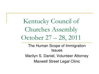 Kentucky Council of Churches Assembly October 27 – 28, 2011
