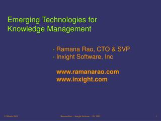 Emerging Technologies for Knowledge Management