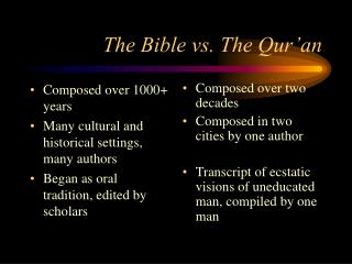The Bible vs. The Qur'an