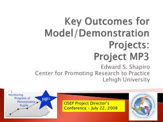 Key Outcomes for Model/Demonstration Projects: Project MP3