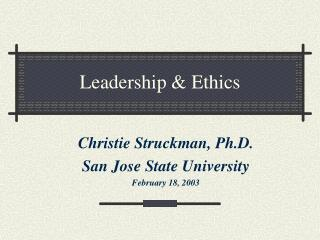 Leadership & Ethics