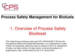 1. Overview of Process Safety Biodiesel