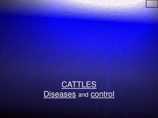 CATTLES  Diseases and control