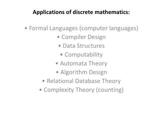 Applications of discrete mathematics: