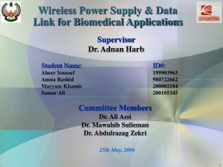 Supervisor   Dr. Adnan Harb Student Name:       ID#: Abeer Youssef199903963 Amna Rashid980722662 Maryam Kha