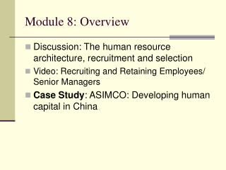 Module 8: Overview