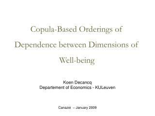 Copula-Based Orderings of Dependence between Dimensions of Well-being