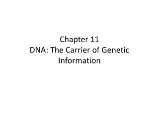 Chapter 11 DNA: The Carrier of Genetic Information