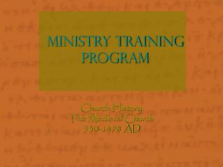 Ministry Training Program
