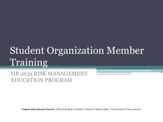 Student Organization  Member Training