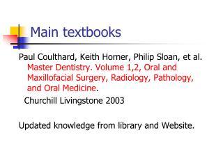 Main textbooks