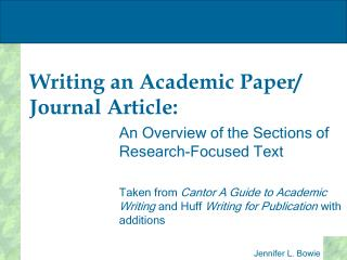 Writing an Academic Paper/ Journal Article: