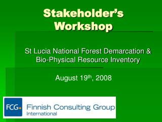 Stakeholder's Workshop