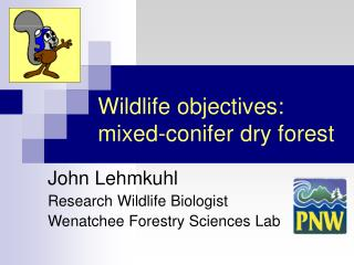 Wildlife objectives:  mixed-conifer dry forest