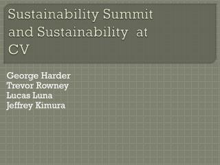 Sustainability Summit and Sustainability  at CV