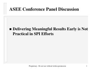ASEE Conference Panel Discussion
