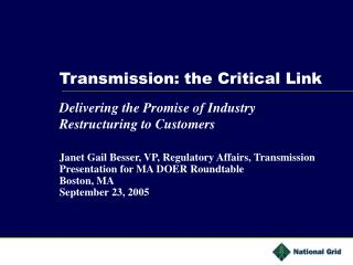 Transmission: the Critical Link